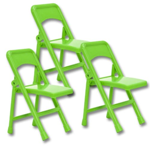 Set of 3 Light Green Plastic Toy Folding Chairs for WWE Wrestling Action Figures