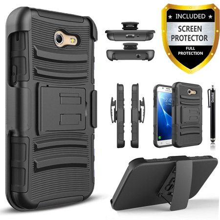 Galaxy J7 V Case, Galaxy J7 Perx Case, Galaxy J7 Sky Pro Case, Dual Layers [Combo Holster] Case And Built-In Kickstand with [Premium Screen Protector] And Circlemalls Stylus Pen -
