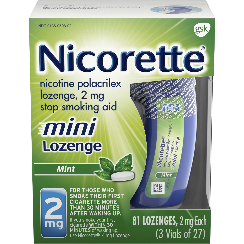 Nicorette Nicotine Mini Lozenge to Stop Smoking, 2mg, Mint Flavor, 81 Count