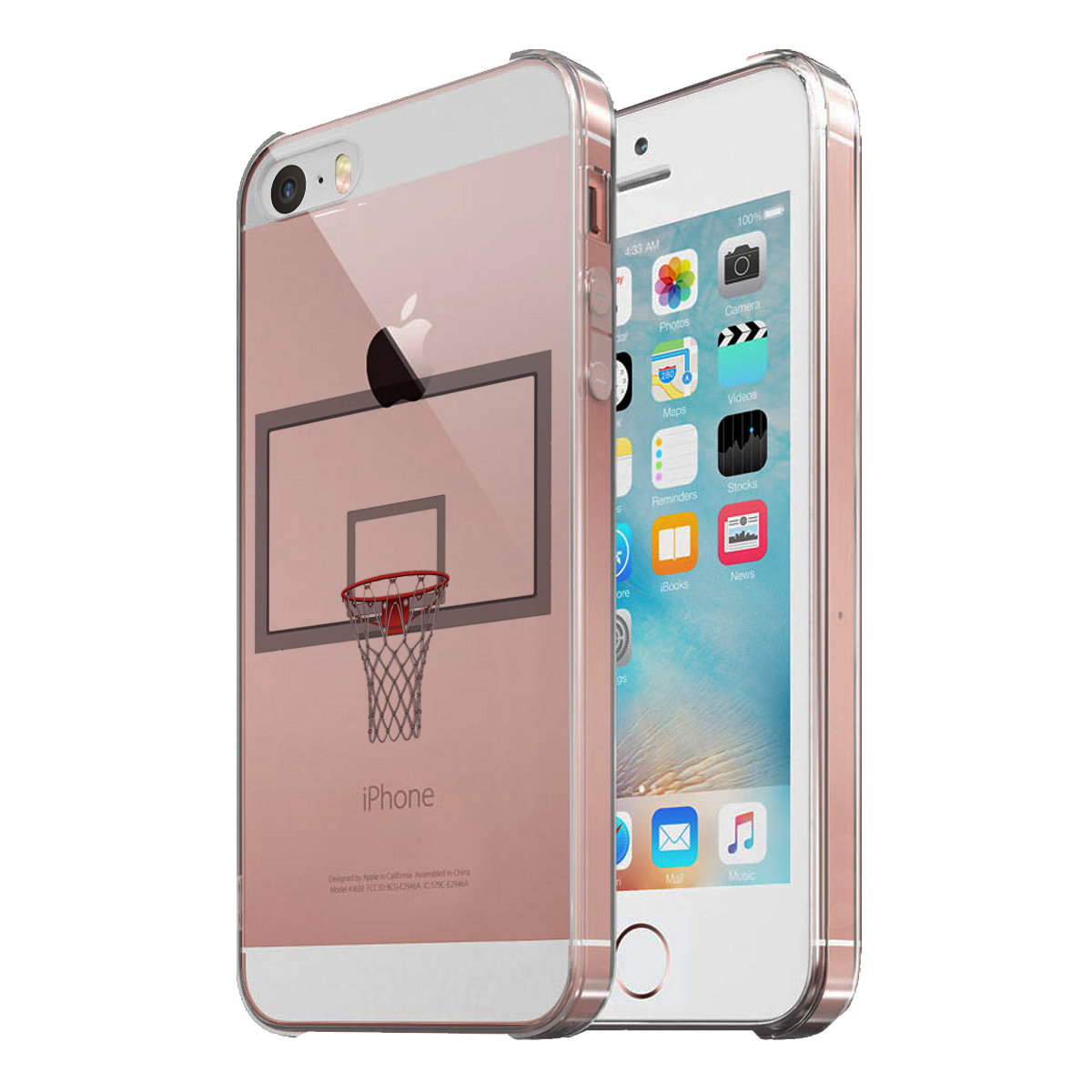 KuzmarK Clear Cover Case fits iPhone SE & iPhone 5 - Basketball Hoop
