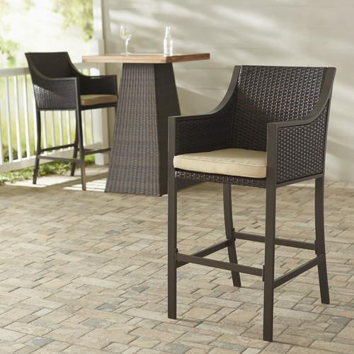 Brayden Studio Liggins 29.5'' Patio Bar Stool with Cushion (Set of 2)
