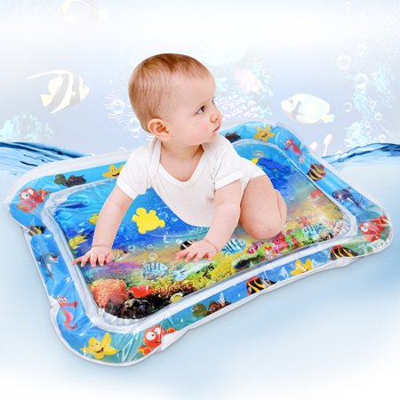 Inflatable Baby Water Mat, PVC Tummy Time Water Mat Fun Activity Play Center for Infants & Kids &Toddlers, Early Education Inflatable Patted Water Play Pad Cushion, 26 x 20'', Blue - image 1 of 8