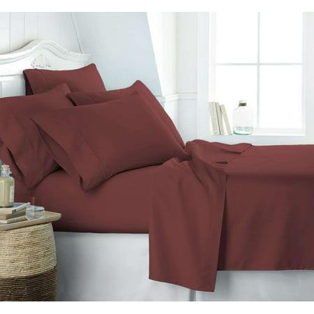 Becky Cameron Soft Comfort Resort Quality 6 Piece Bed Sheet Set   Twin Xl   Burgundy