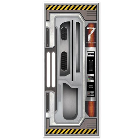 Club Pack of 12 Gray Spac Station Door Cover Decoration 6'](Door Cover)