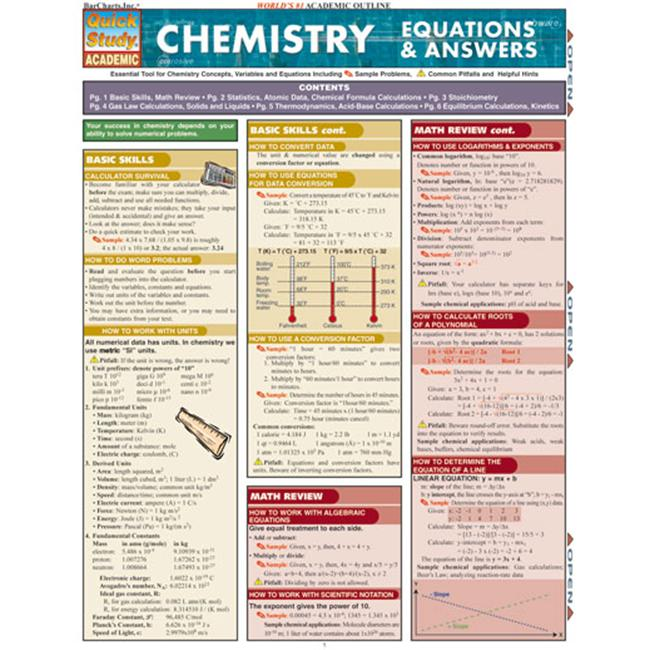 BarCharts- Inc.  9781423201892 Chemistry Equations & Answers