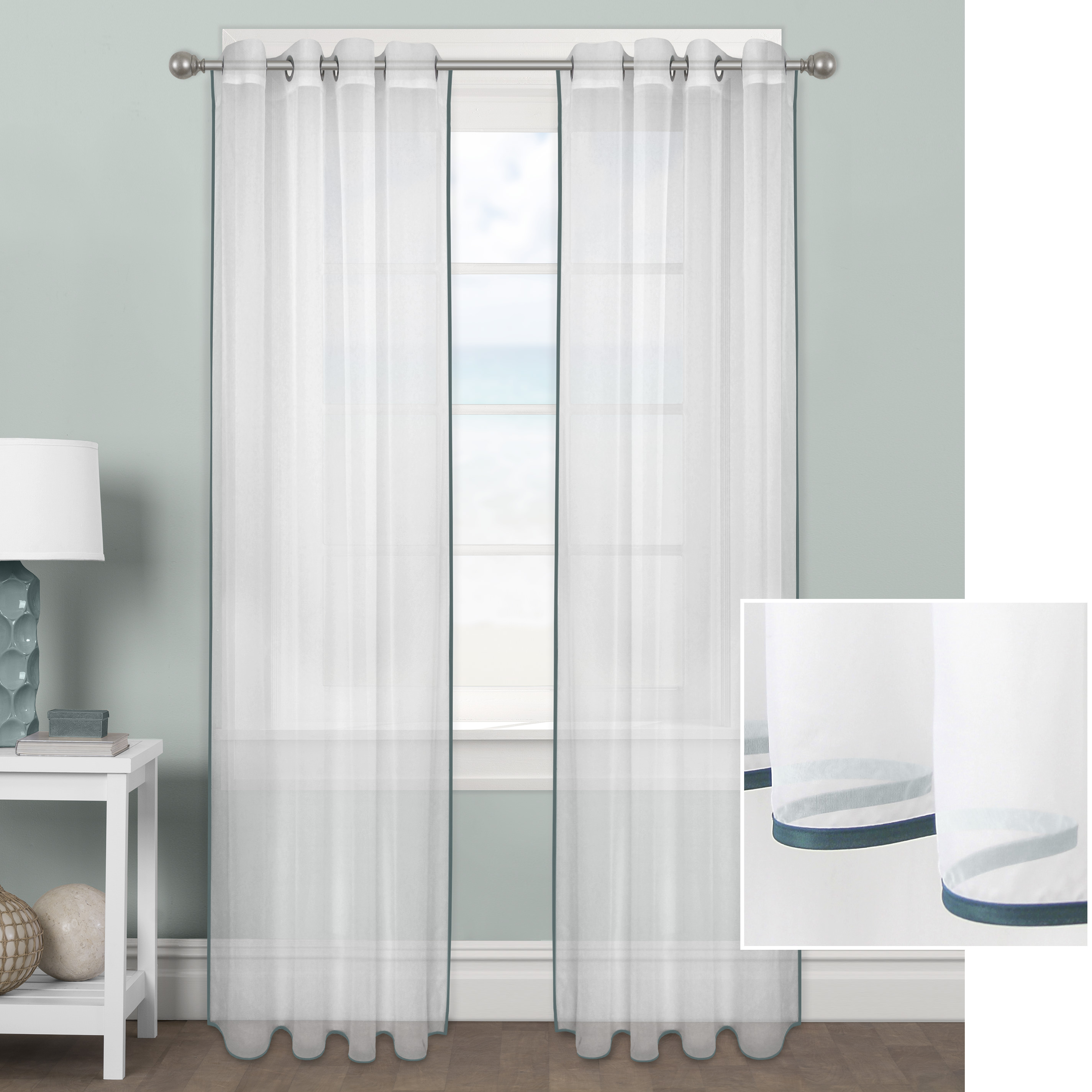 Better Homes & Gardens Ribbon Border Window Curtain Panel