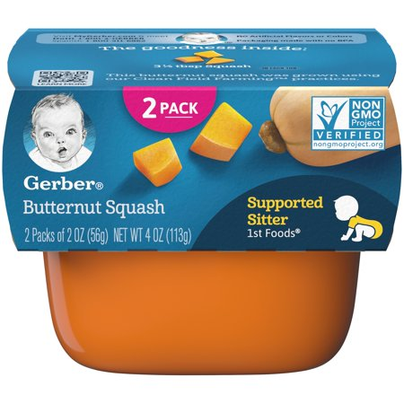 Gerber 1st Foods Butternut Squash Baby Food, 4 oz. Sleeve (Pack of
