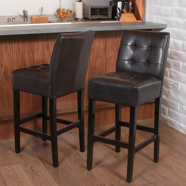 Kate Espresso Brown Leather Counter Stools (Set of 2)