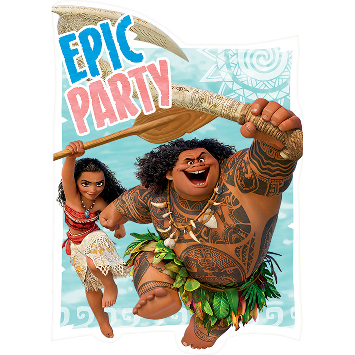 Disney Moana Maui Birthday Girl Epic Party Invitation 16 Count Save The Date