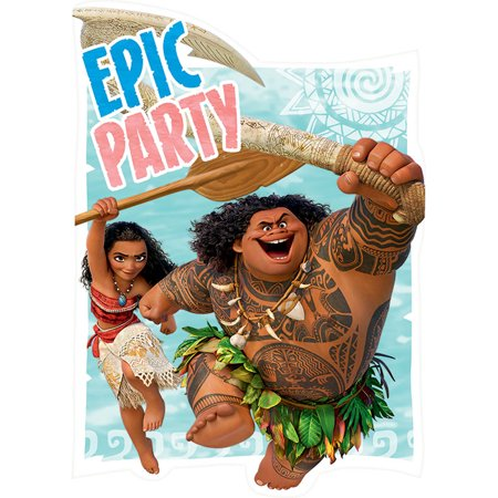 Disney Moana Maui Birthday Girl Epic Party Invitation 16 Count Save the Date](Party Birthday Girl)