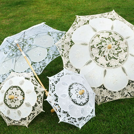Vintage Bridal Lace Umbrella Women Parasol Sun Umbrella Decoration for Wedding Party White S