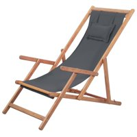 LYUMO Folding Beach Chair Fabric and Wooden Frame Gray