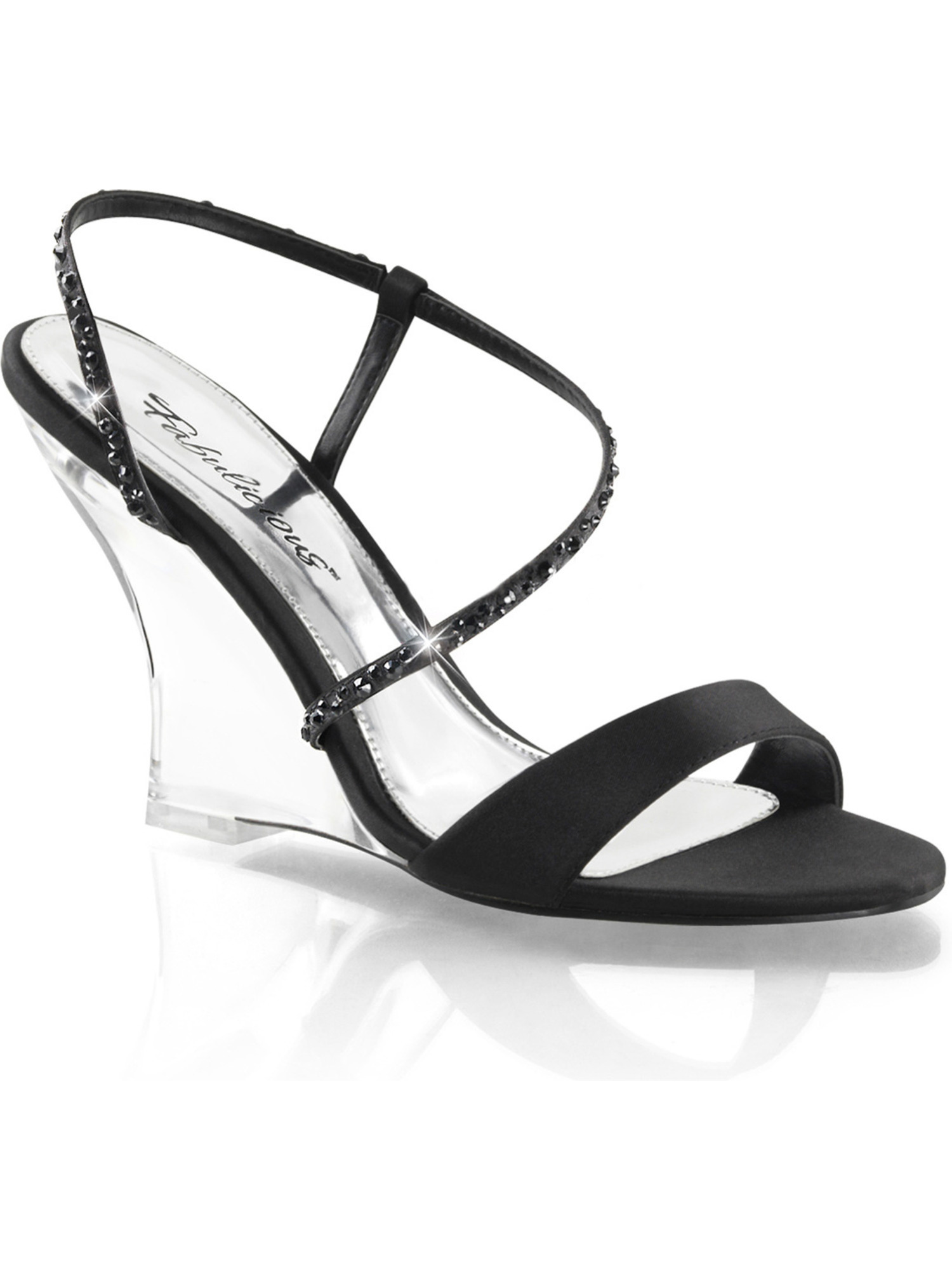 Women Black Satin and RHinestone Wedge Sandals Shoes with 4'' Clear Wedge Heels