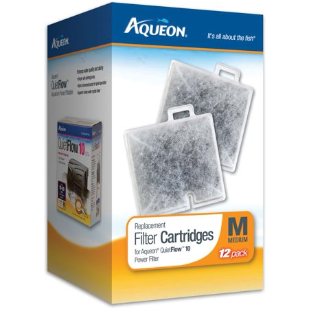 Aqueon Replacement Aquarium Filter Cartridges, Medium, 12-Pack