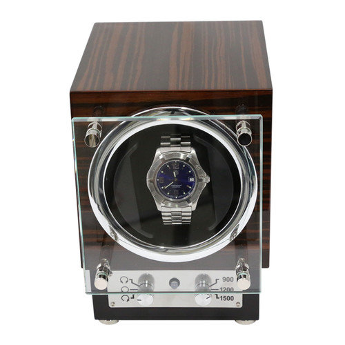 Bey-Berk Ebony Burl Wood Watch Winder
