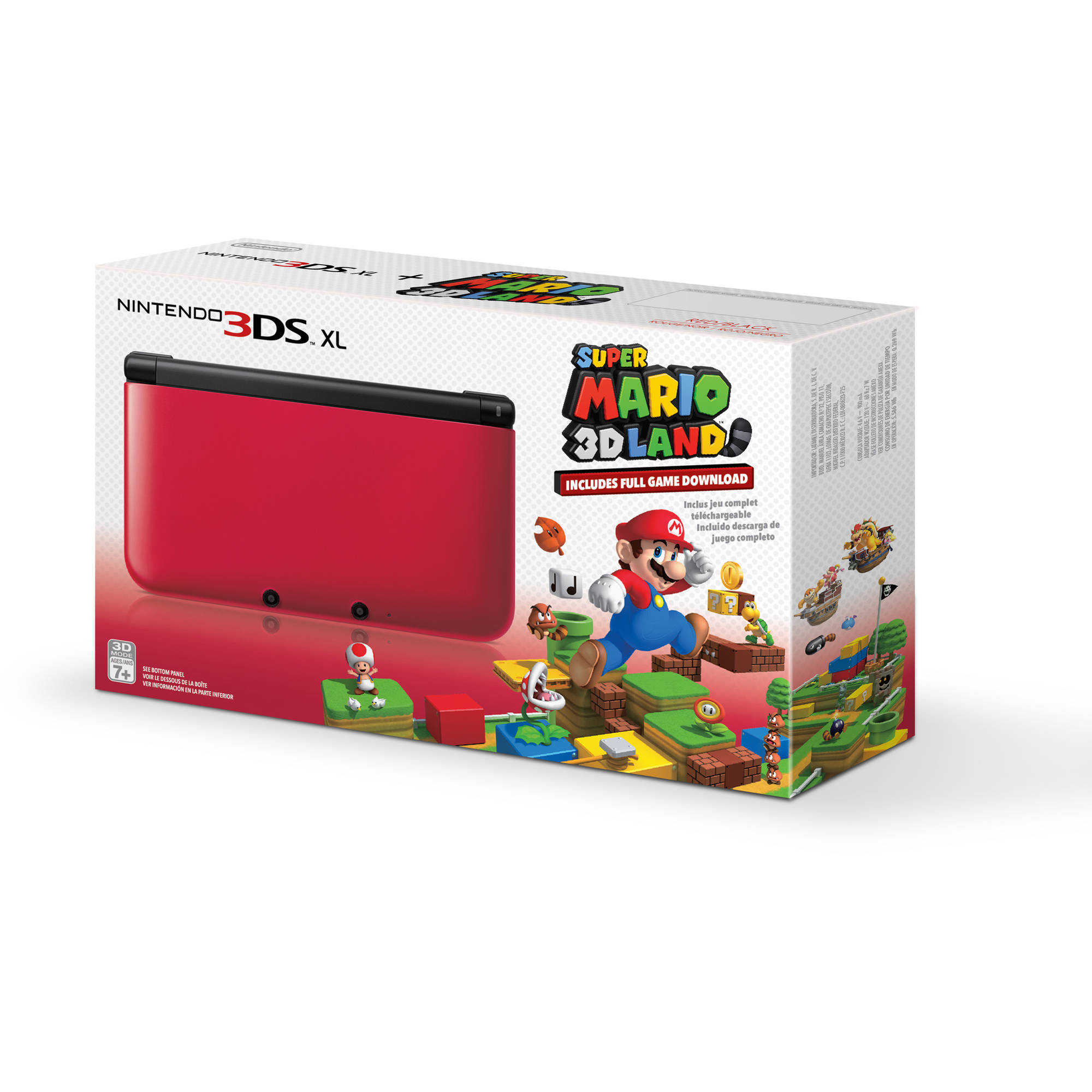 Nintendo 3ds Xl Handheld Console With Super Mario 3d Land Red