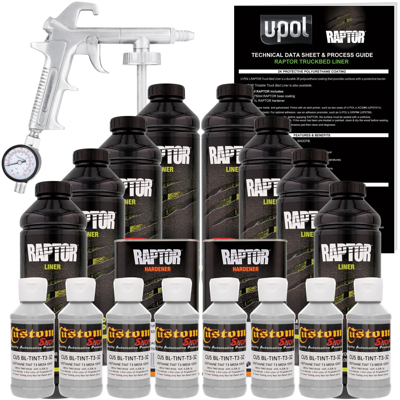 Raptor Mesa Gray Urethane Spray-On Truck Bed Liner Spray Gun, 8 Liters
