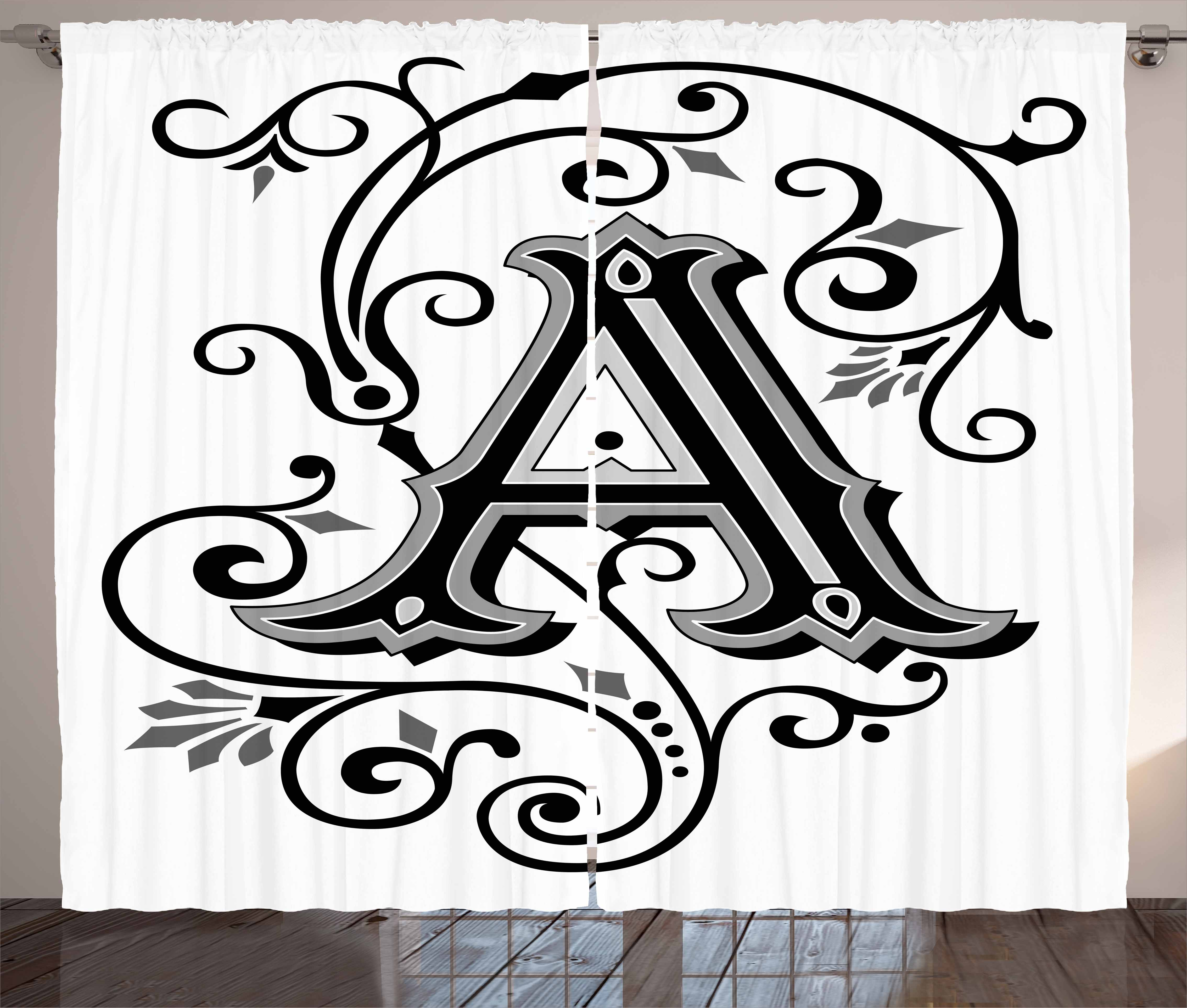 Letter A Curtains 2 Panels Set Ornamental Pattern Uppercase A First