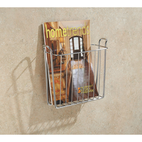 InterDesign Classico Wall-Mount Magazine Holder Rack, Chrome