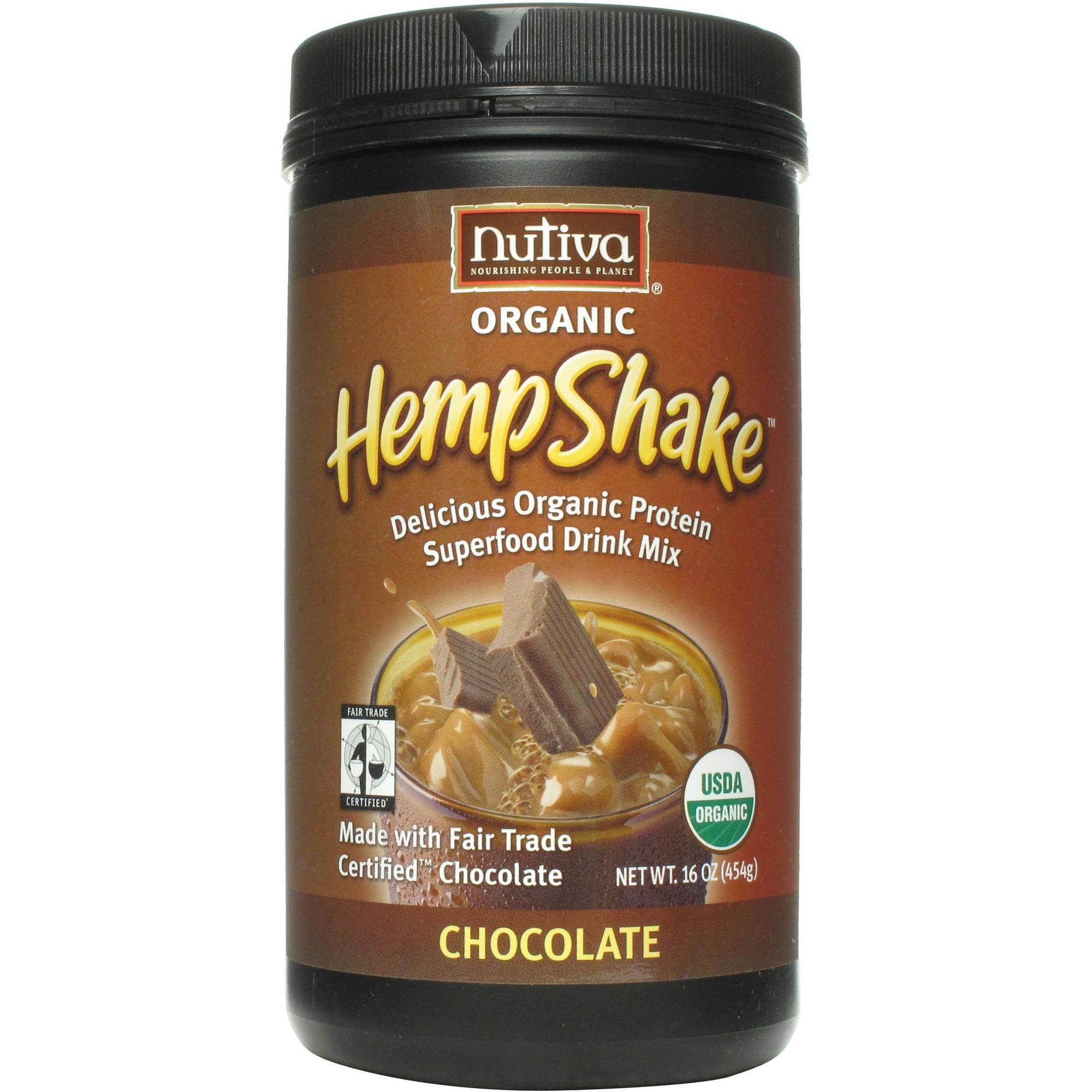 Nutiva Organic Hemp Shake Chocolate Protein Drink Mix, 16 oz