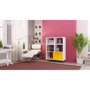 Boden Mid-High Side Stand with 6 shelves in White and Yellow