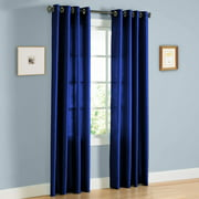 "2 PANEL MIRA  SOLID ROYAL BLUE SEMI SHEER WINDOW FAUX SILK ANTIQUE BRONZE GROMMETS CURTAIN DRAPES 55 WIDE X 84"" LENGTH"