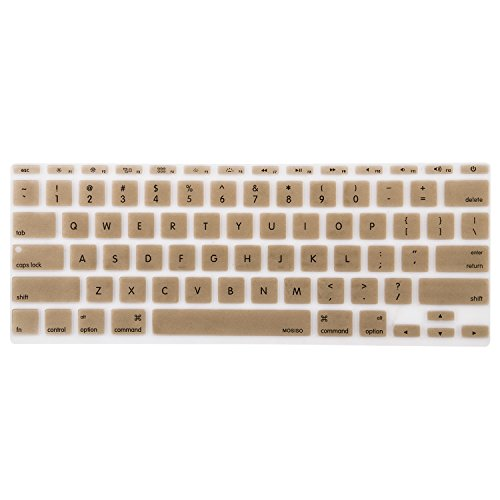 "Mosiso Keyboard Cover Silicone Skin for MacBook Air 11.6"" Models: A1370 and A1465 - (USA KEYBOARD VERSION) - Gold"
