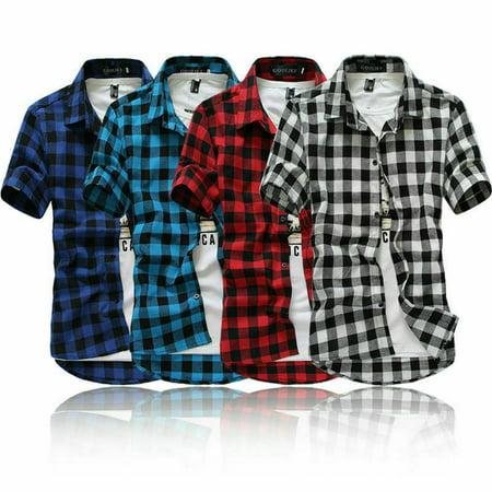 Fashion Men's Summer Casual Dress Shirt Mens Plaid Short Sleeve Shirts Tops