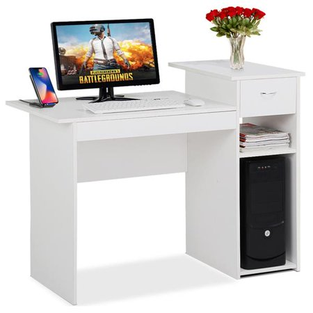 Small Wood Computer Desk with Drawers and Storage Shelves Workstation Furniture White ()