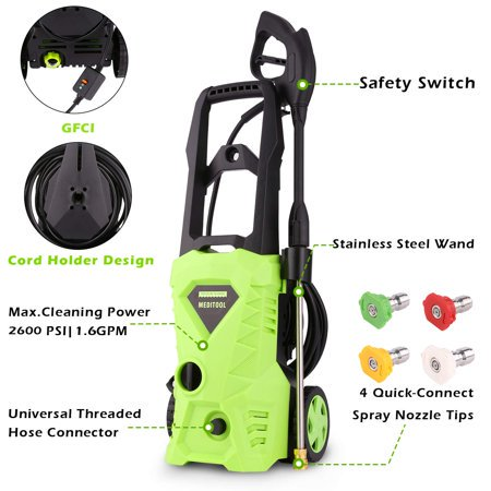 Electric Pressure Washer, Power Washer with 2000 PSI,1.6GPM, (4) Nozzle Adapter, Longer Cables and Hoses and Detergent Tank,for Cleaning Cars, Houses Driveways, Patios,and More