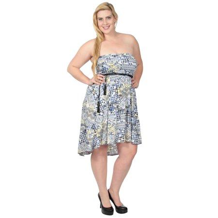 Fashion Women Plus Size Strapless Empire Waist Party Cocktail Mini Short Dress (Empire Strapless Short)
