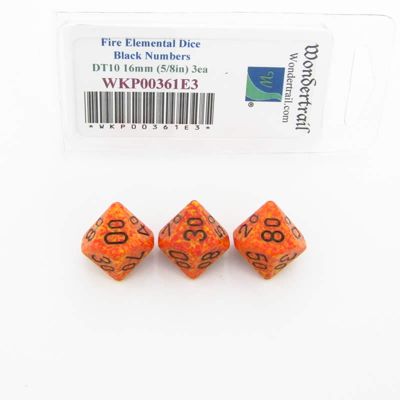 Fire Elemental Dice 16mm DT10 (Tens Ten Sided Dice) 3pc with Black Numbers