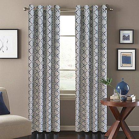 Tile Scroll Window Curtain Panel in Blue- 84