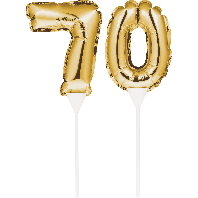 """Birthday Balloon Cake Toppers 3 1/2"""" Ballon 9"""" H """"70"""" Gold, Case of 24"""