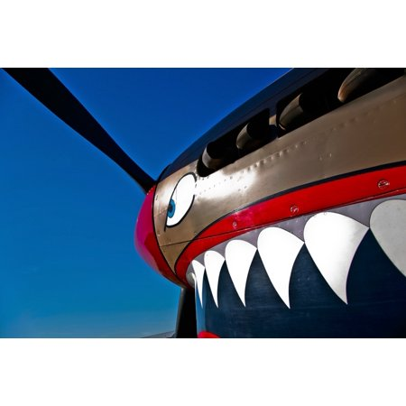 Close-up view of the nose art on a Curtiss P-40E Warhawk on display at the  Warhawk Air Museum Nampa Idaho Poster Print