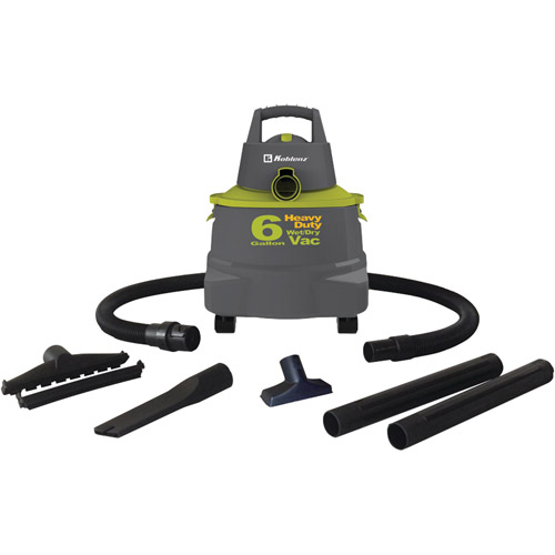 Wet/Dry Vacuum Cleaner with 6-Gallon Tank, Dark Gray/Green