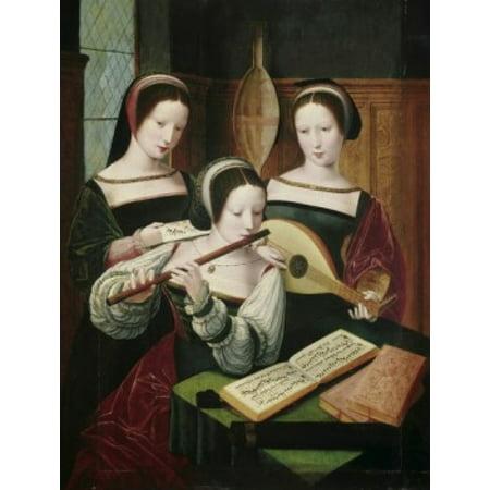 Three Female Musicians 16th C Artist Unknown Canvas Art - (24 x 36)