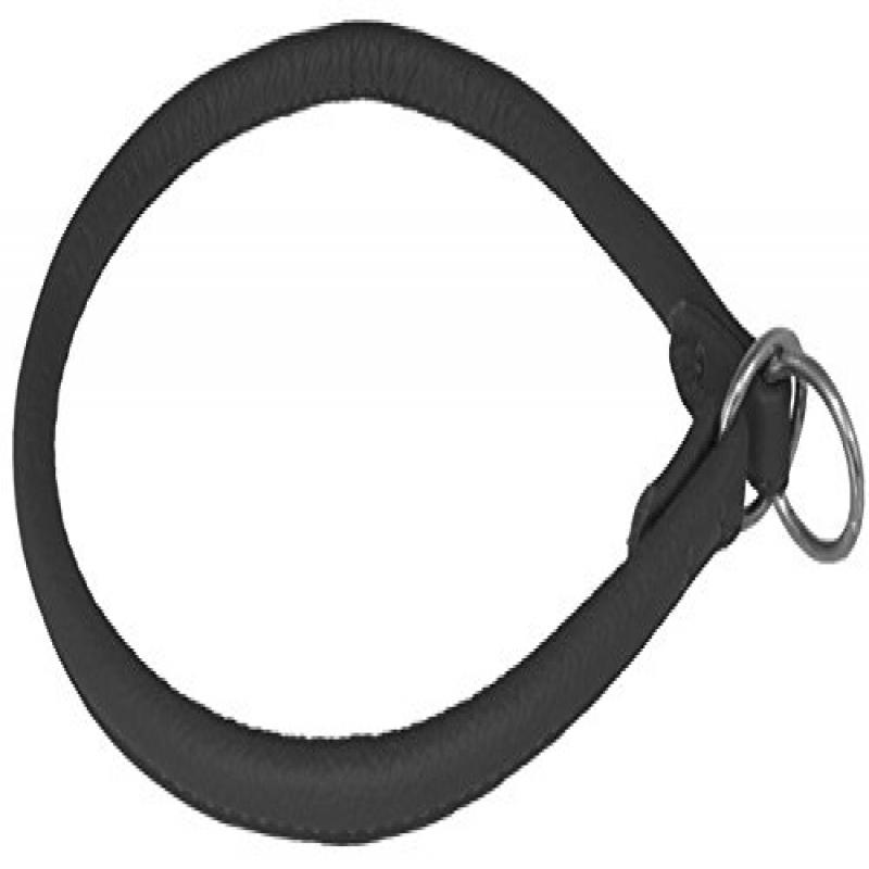 "Dogline Round Leather Choke Collar W1/2"" - L24"", Black"