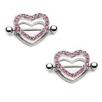 Circle Nipple (Nipple Ring Bars Rhinestone Heart Circle of Love Body Jewelry HO222)