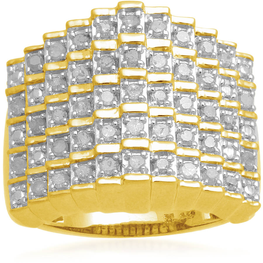 1/2 Carat T.W. White Diamond Yellow Plating over Sterling Silver Five-Row Ring