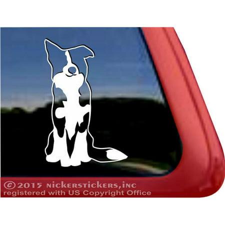 Sitting Border Collie Dog Vinyl Adhesive Window Decal