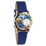Womens C0710011 Classic Gold Footprints Royal Blue Leather And Goldtone Watch