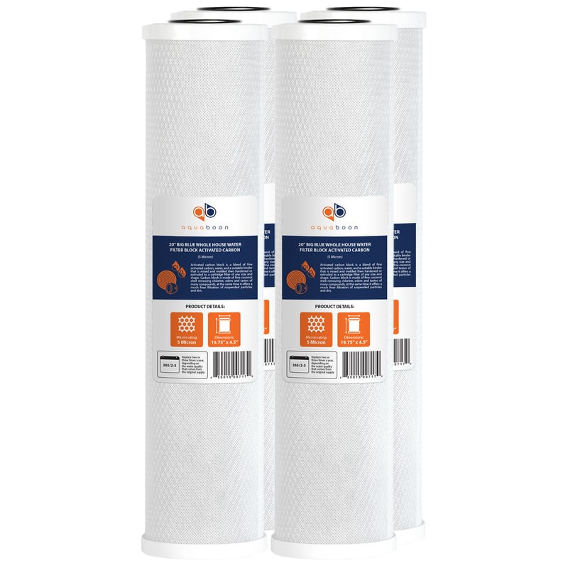 """4PK of Aquaboon Big Blue Whole House 5µm Coconut Shell Carbon Block Water Filter 20""""x4.5"""""""