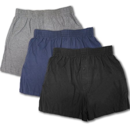 3 or 6 Men's Boxers Underwear W/ Stretch Waist & Breathable Cotton (3 Pack Set, Medium) Elastic Waist Boxers