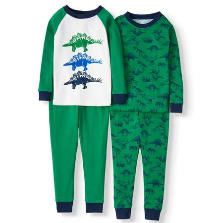 Wonder Nation Toddler Boy Long Sleeve Cotton Snug Fit Pajamas, 4Pc Set