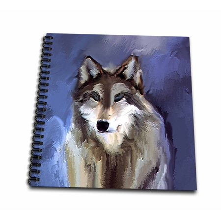 3dRose Wolf - Drawing Book, 8 by 8-inch