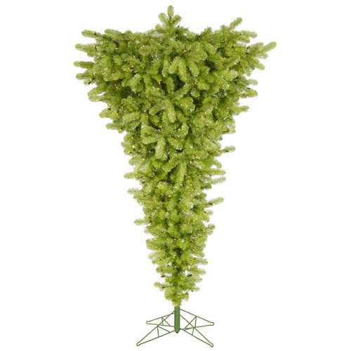 Vickerman Upside Down 7.5' Lime Green Artificial Christmas Tree with 500 Clear Lights with Stand