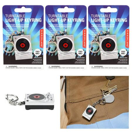 3Pc Kikkerland DJ Turntable Light Up LED Keyring Scratch Sound Key Chain Toy - Led Light Key Chain
