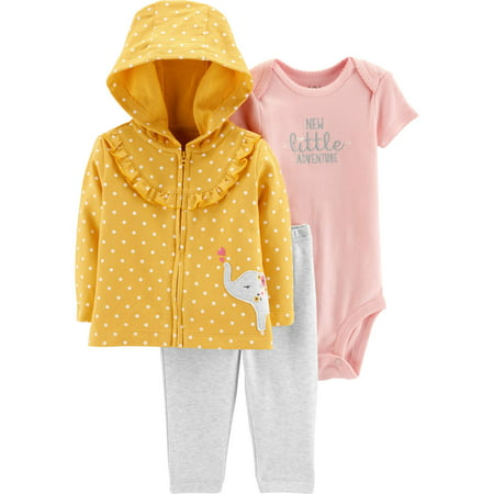 Child of Mine by Carter's Hooded Cardigan, Short Sleeve Bodysuit & Pants, 3-Piece Outfit Set (Baby Girls)
