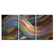 """wall26 - 3 Piece Canvas Wall Art - Abstract Picture Showing a Symbolic Alternating Scenery - Modern Home Decor Stretched and Framed Ready to Hang - 16""""x24""""x3 Panels"""